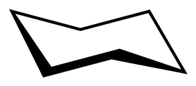 Skeletal formula of cyclohexane in its chair conformation