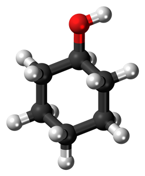 Ball-and-stick model of the cyclohexanol molecule