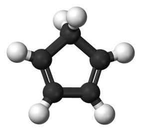 Ball and stick model of cyclopentadiene