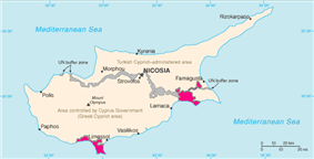 Location of Akrotiri and Dhekelia (pink)