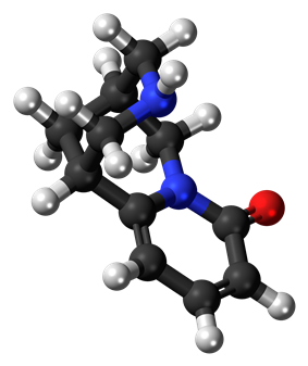Ball-and-stick model of the cytisine molecule