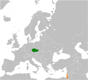 Map indicating locations of Czech Republic and Israel