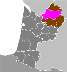 Location of Périgueux in Aquitaine