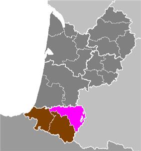 Location of Pau in Aquitaine