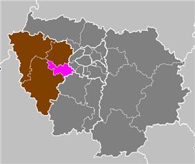 Location of Versailles in Île-de-France