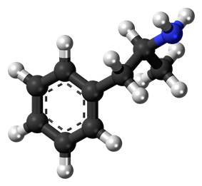 a 3d image of the dextroamphetamine compound found in Adderall