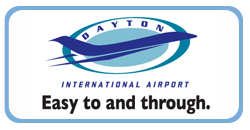 Logo for Dayton International Airport containing airport name, aircraft silhouette, and the slogan
