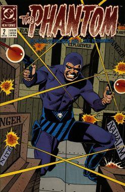 Comic-book cover, with the Phantom holding a gun in each hand