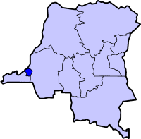 Kinshasa city-province on a map of the DRC