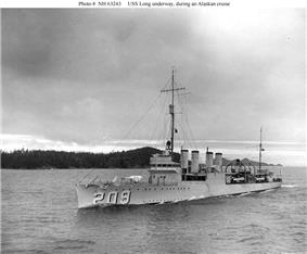 USS Long (DD-209) underway during an Alaskan cruise, circa 1937. Note her twin 4