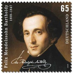 postage stamp showing on a dark background a head-and-shoulders portrait of a dark-haired, narrow faced, middle-aged man looking out at the viewer, weating a high collar and dark coat; text comprises 'Felix Mendelssohn Bartholdy', the dates 1809–1847, a facsimile of Mendelssohn's signature, the figure 65 and the word 'Deutschland'