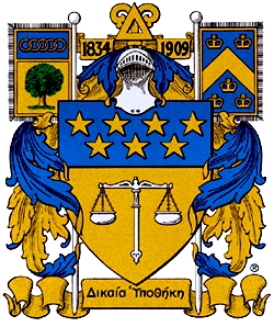 The official coat of arms of Delta Upsilon