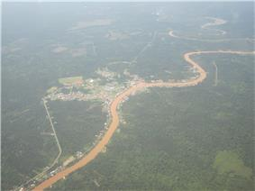 The aerial view of Dalat town. The great river seen here is the Batang Oya.