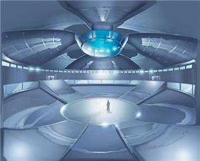 Drawing of a large, enclosed, futuristic arena with a man standing at the centre; large ramps lead to galleries above.