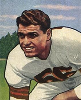 Cleveland Browns receiver Dante Lavelli on a 1950 football card