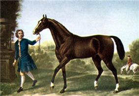 Painting of a brown horse walking behind a man in a blue seventeenth century outfit.