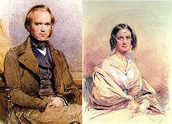 Left to right: Watercolour portrait of Charles Darwin, seated; watercolour portrait of Emma Darwin, seated