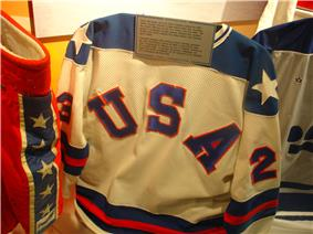 Dave Christian's jersey from the 1980 Winter Olympics