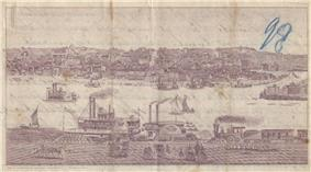 An old image shows the Mississippi River in the middle with several boats traversing it. On both sides of the river are several buildings.