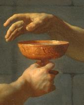 Fragment of The Death of Socrates; close-up of the hand reaching for a cup of poisoned water.