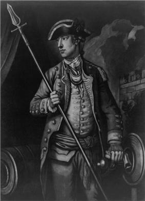 A black and white mezzotint print of a three-quarter length portrait. Wooster is standing, facing left, wearing a military uniform, holding a pike in right hand, with his left hand resting on a cannon.