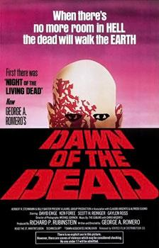 Painted theatrical release that includes various credits, an ominous zombie looking over the horizon, and the words