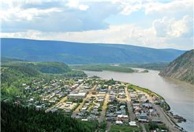 alt+aerial view of Dawson City