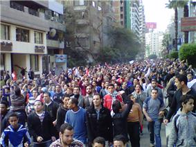 Large demonstration, with protesters filling a street