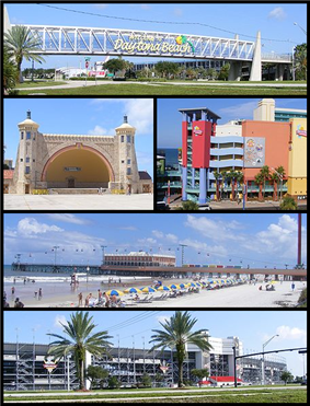 From top, left to right: Welcome sign when entering Daytona Beach; Daytona Beach Bandshell; Ocean Walk Shoppes; Daytona Beach Pier; Daytona International Speedway
