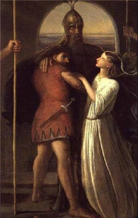 A painting depicting a tall bearded man wearing a helmet, with two smaller figures holding onto him: a man on the left and a woman on the right