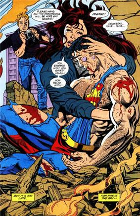 A crying Lois Lane hugs the bloody and battered corpse of Superman, while a sad Jimmy Olson takes pictures behind her.