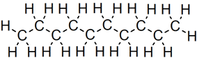 Skeletal formula of decane with all implicit carbons shown, and all explicit hydrogens added