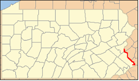 Location of Delaware Canal State Park in Pennsylvania