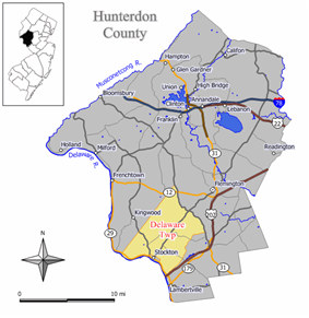 Map of Delaware Township in Hunterdon County. Inset: Location of Hunterdon County highlighted in the State of New Jersey.
