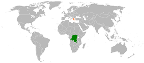 Map indicating locations of Democratic Republic of the Congo and Greece