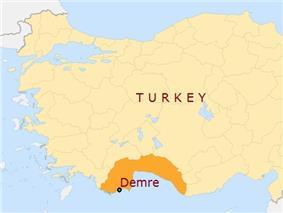 Location of Demre in Antalia province, Turkey.