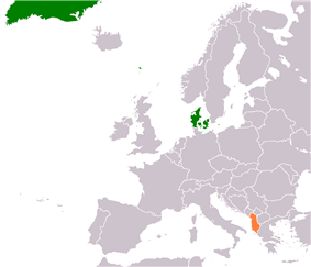 Map indicating locations of Denmark and Albania