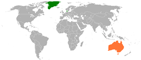 Map indicating locations of Denmark and Australia