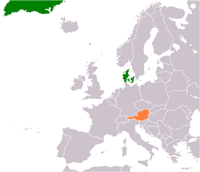 Map indicating locations of Denmark and Austria