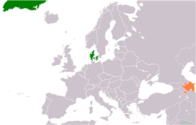 Map indicating locations of Denmark and Azerbaijan
