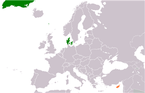 Map indicating locations of Denmark and Cyprus