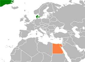 Map indicating locations of Denmark and Egypt