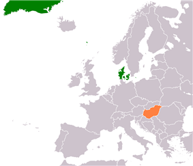 Map indicating locations of Denmark and Hungary