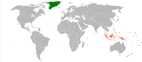 Map indicating locations of Denmark and Indonesia