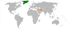 Map indicating locations of Denmark and Iran