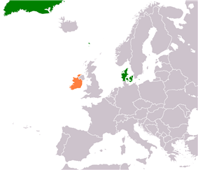 Map indicating locations of Denmark and Ireland