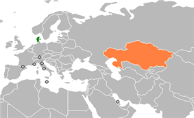 Map indicating locations of Denmark and Kazakhstan