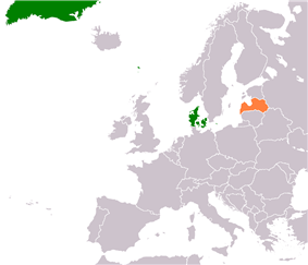 Map indicating locations of Denmark and Latvia