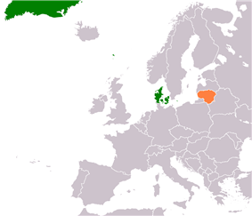 Map indicating locations of Denmark and Lithuania