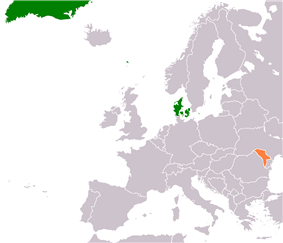 Map indicating locations of Denmark and Moldova